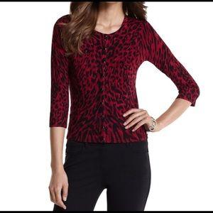 White House black market red leopard cardigan L